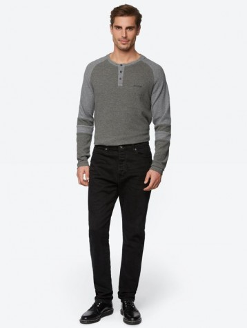 BENCH TAPERED WASHED BLACK PANTS
