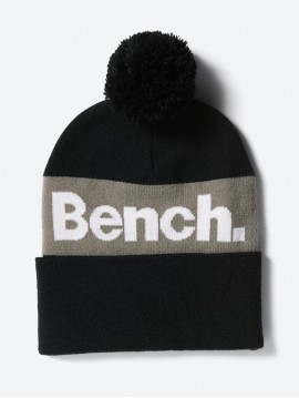 BEANIE WHITH BOBBLE AND COLOUR CONTRASTING BENCH LOGO