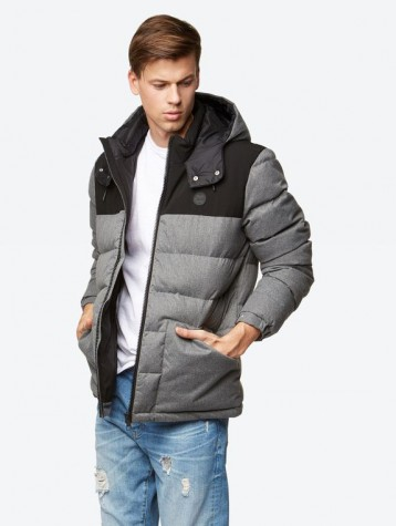 DOWN JACKET WITH REFLECTIVE BENCH PRINT ON THE HOOD