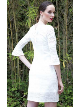 AKINO LAUDE WHITE SHORT DRESS  WITH FRENCH SLEEVES