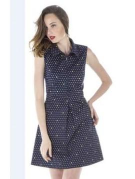 AKINO LAUDE SHIRT SLEEVELESS SHORT DRESS COTTON FABRIC
