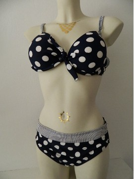 BIKINI SIZE LARGE POINT WHITE AND NAVY TOTSOL