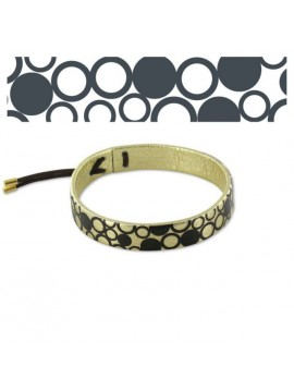 GOLD CIRCLES LEATHER BRACELET