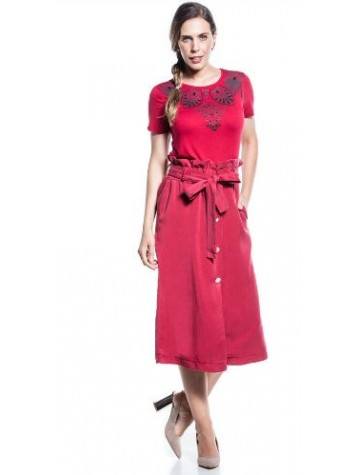SKIRT DEEP RED COTTON BROTHERS WHITH BUTTONS