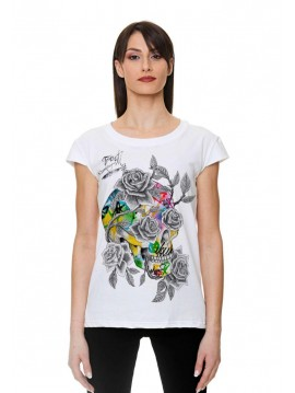 TRACT WOMAN TSHIRT SKULL ROSE