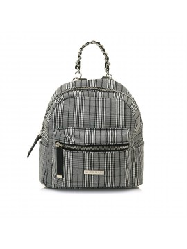 MARIAMARE SMALL BACKPACK WITH SCOTTISH BOX PRINT BLACK AND WHITE COLOR